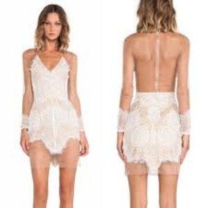 For Love & Lemons Antigua Lace & Sheer Mini Dress